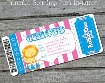 Girls Circus Birthday Invitation | Carnival Party Invite |  Boarding Pass Birthday Invitation Ticket | Lion Elephant Monkey | Printable