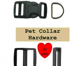 "20 SETS - 1"" - Dog Collar Kits, Wide mouth, 80 Pieces - BLACK or WHITE - With Keepers"