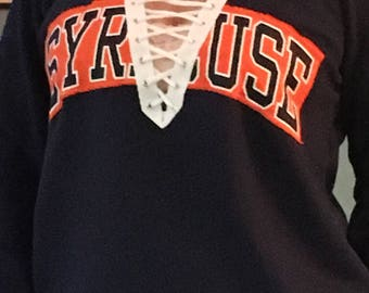 Syracuse Sweatshirt with laces and flannel elbow patches