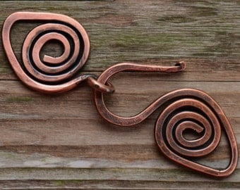 Handmade X-Large Spiral Copper Clasp - 12 gauge Artisan Forged Copper Clasp