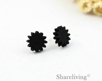 4pcs (2 pairs) Mini Black Gearwheel Charm / Pendant, Black Gear, Perfect for Stud Earring, Post Earring - WED078