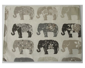Grey Elephants Cotton Fabric Placemat Taupe Beige Gray Reversible Modern Elephant
