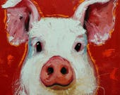 Pig painting 256 12x12 inch original oil painting by Roz