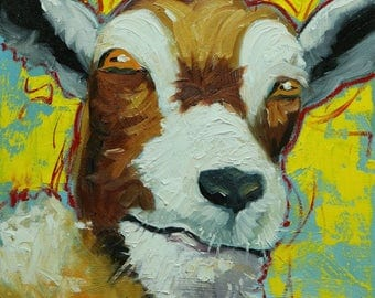 Goat portrait painting 31 12x12 inch original oil painting by Roz