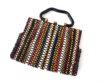 Wood Beaded Purse, 1940s Art Deco Purse, Multi-colored Wood Beads, Boho Handbag Evening Bag, Hipster Accessories, Red Mustard Blue Stripes