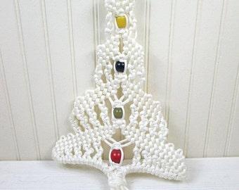 ON SALE Vintage Hanging Macrame Christmas Tree Decoration White Beaded Wood Beads Retro