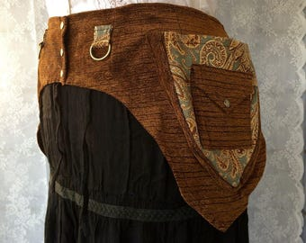 Brown tapestry festival belt - desert festival utility belt - steampunk pocket belt - fancy utility belt - womens utility belt - Medium