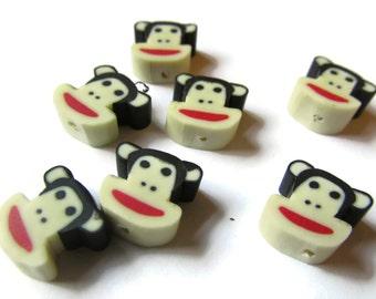 20 Black Monkey Heads Animal Head Beads Polymer Clay Beads Kawaii Beads Cute Beads Jewelry Making Beading Supplies Loose Beads