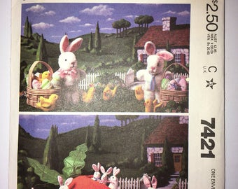 "Vintage Cut and Complete McCall's year 1981 Sewing Pattern #7421 - 15"" 6"" 4"" Tall Easter Rabbits w/ Carrot, Chick, Egg, Basket"