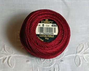 DMC Pearl / Perle Cotton Thread Balls Size 8 Dark Christmas Red 498