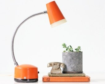 Vintage Orange Lamp, Retro Gooseneck Desk Lamp, Penetray