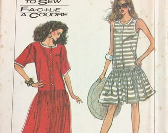 Uncut Simplicity 8571 Misses' Dropped Waist Dress  Vintage 80's Sewing Pattern  Size SM-XL Bust 30-46 inches Complete Uncut FF