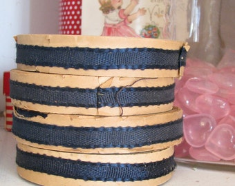 Old Artsy Supply...4 Big Spools of Vintage Navy Blue Ribbon