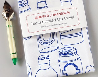 Beer Tea Towel - Screen Printed Tea Towel - Kitchen Towel - Bar Towel - Beer Gift - Beer Lover - Gifts Under 20 - Gifts for Him
