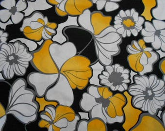 Black, Yellow and white Floral Cotton Fabric