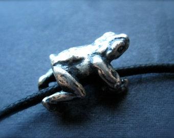 Hugging Frog bead sterling silver slider - slider tube bead 3mm X 4mm hole