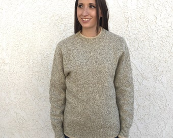 Speckled wool crew neck sweater