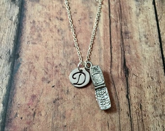 Mobile phone initial necklace- phone jewelry, technology necklace, nerdy jewelry, cell phone pendant, telephone necklace, cell phone jewelry