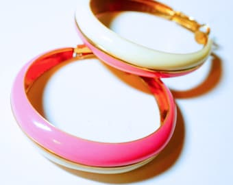 Pink and White Enameled Hoop Earrings, Large Retro Hoops