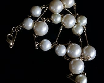 30 inch Faux Pearl Necklace, Lustrous White Pearl Long Necklace, Bride Wedding