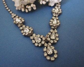 Vintage Deco Rhinestone Necklace / Wedding Necklace