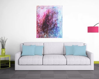 Original Painting. Abstract Painting. Abstract Art. Custom Frame. Abstract painting.  Original Art. Urban Industrial. Texture. Blue Pink .