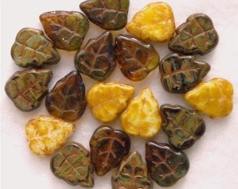 New 18 Czech Glass LEAF Beads AUTUMN PICASSO 10x12mm