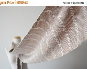 January Sale Fawn & Cream White Chevron Stripe Scarf - Extra Long Handwoven Bamboo Fiber Scarf for Men or Women - Very Soft - Silk Free