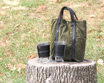"""Gift Pack! Beer tote and 2 """"beverage insulators"""" Recycled from Army Tent Canvas, Bicycle Tubes, and Wool Sweaters. Great gift for men!"""