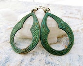 green earrings bohemian earrings patina hoop earrings Moroccan jewelry