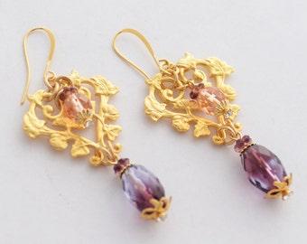 Amethyst Purple Gold Earrings, February Birthday Gift, Purple Earrings, Floral Earrings, Romantic Earrings, 18k Matte Gold Jewelry, SRAJD