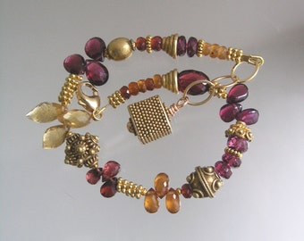 She is a Mystery, Golden and Red Garnet Vermeil Tactile Signature Original Layering Bracelet