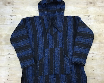 Vintage 1990s 90s Baja Poncho Drug Rug Hooded Sweatshirt Mens Retro Streetwear Size Medium