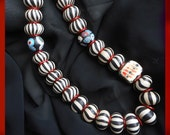 A Different Stripe: Painterly necklace with art beads strong design