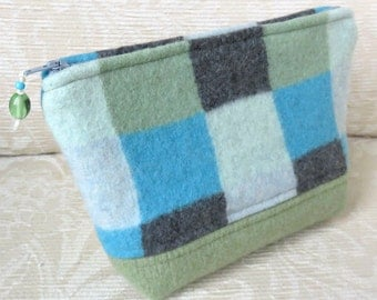 SALE! Springtime Squares Zip Pouch, Eco Friendly Upcycled Sweater Wool Clutch