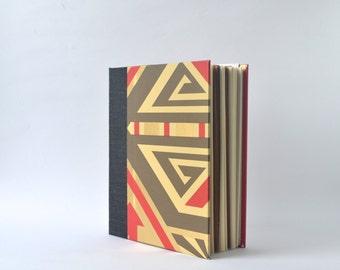 Red, Grey & Gold Handbound Journal, Geometric Starburst-Stitched Album, Longstitch Hardcover Sketchbook