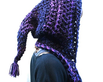 NEW Hood long open Scarf chunky elfin cowl fringe vegan rasta air purple black blue
