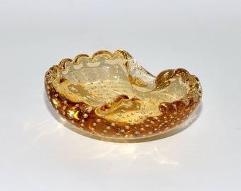 Vintage Murano Bullicante Wheat Gold Colored Glass Ashtray Bowl, circa 1950s -1960s