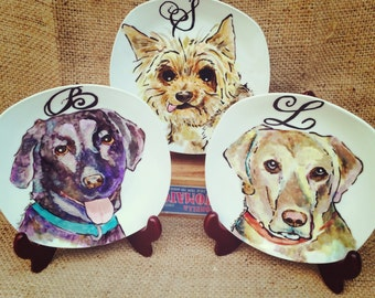 """Small Custom Porcelain Hand Painted Dog Plate 7.5"""" for Birthday Special Occasion Wedding or Engagement Gift"""