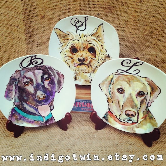 "Small Custom Porcelain Hand Painted Dog Plate 7.5"" for Birthday Special Occasion Wedding or Engagement Gift"