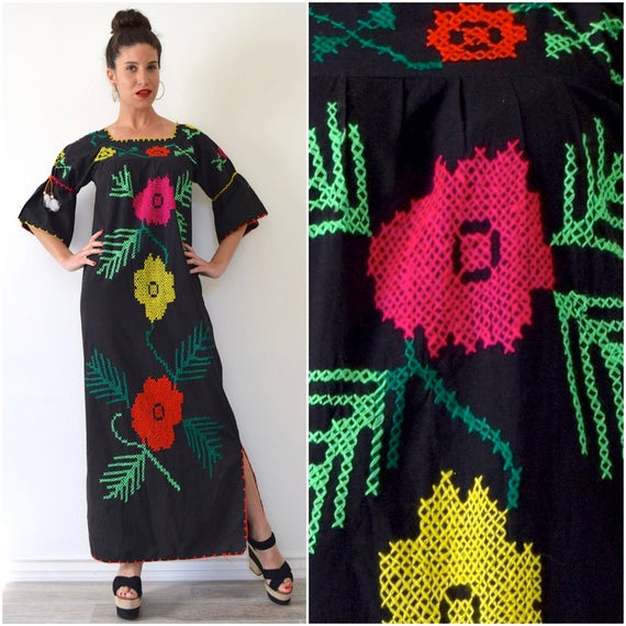 Vintage 60s 70s Mexican Embroidered Maxi Dress