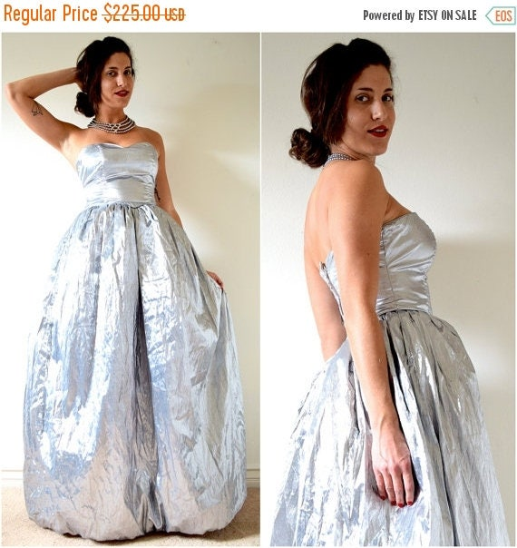 SALE SECTION / 50% off Vintage 70s 80s Intergalactic Planetary Metallic Silver Lame Strapless Ballgown (size small)