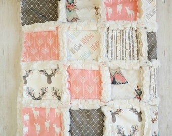 Woodland Crib Quilt for Baby Girl - Coral Crib Bedding with Deer, Arrows, & Teepee Prints - Woodland Gift for Baby Girl - Woodland Nursery