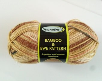 one 60 gram skein Bamboo & Ewe Pattern sock yarn in Camel colorway