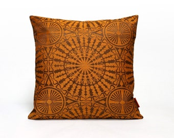 Brown Pillow Cover | Mid Century Modern Home Decor | 70s Fabric | Accent Pillow | Designer Pillow | Decorative Cushion Cover by EllaOsix