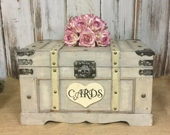 Wedding Card Box, Extra Large Trunk, Shabby Chic, Rustic Wedding Box, Cards-Advice-Wooden Box-Wedding Momentums-Home Decor-Birthday Cards