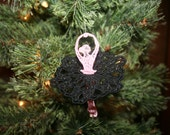 Pink Ballerina Dancer Christmas Ornament 3D Lace Embroidered SEWBUSY12