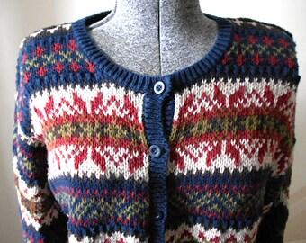 SALE Indigo Fair Isle cardigan, ramie cotton Nordic - Paul Harris - women medium large