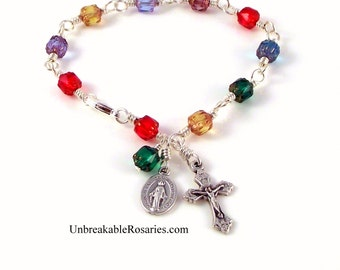 Miraculous Medal Rosary Bracelet Wire-Wrapped Rainbow Czech Cathedral Glass by  Unbreakable Rosaries