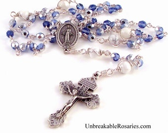 Miraculous Medal Rosary Beads Sapphire Blue Czech Glass with Silver AB Finish by Unbreakable Rosaries